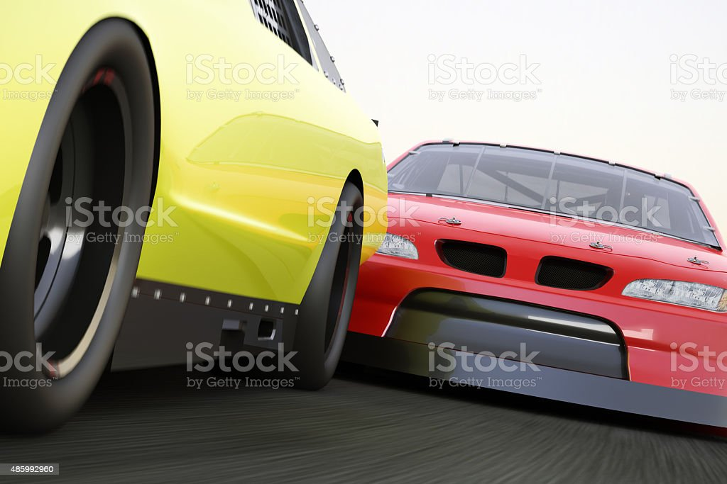 Extreme motorsports racing, race car competitively looking to pass stock photo