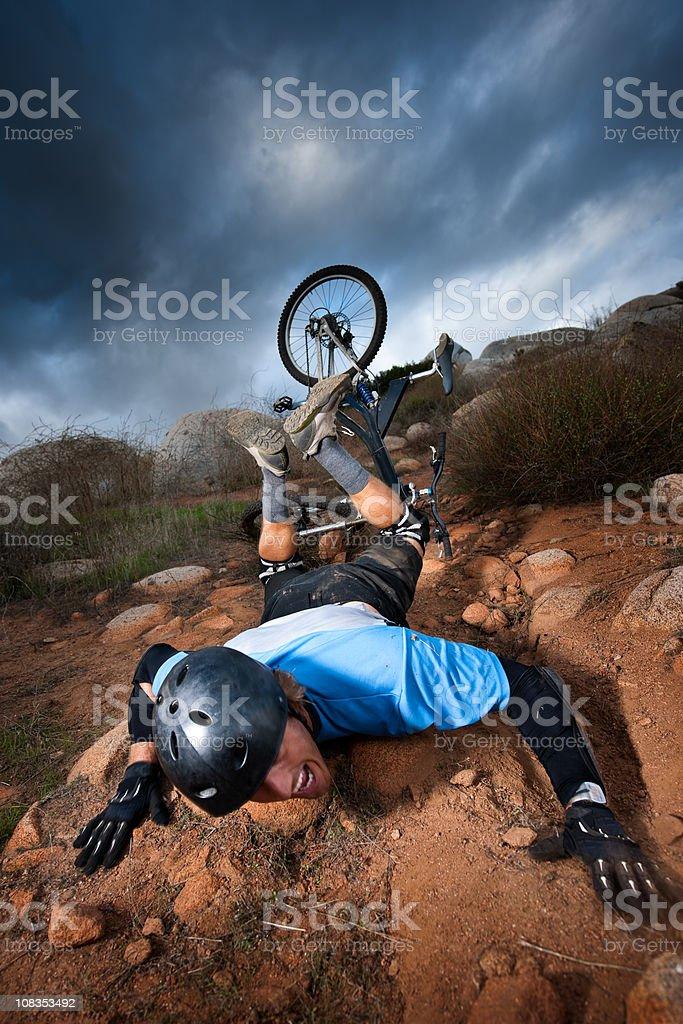 Extreme Mountain Biker stock photo