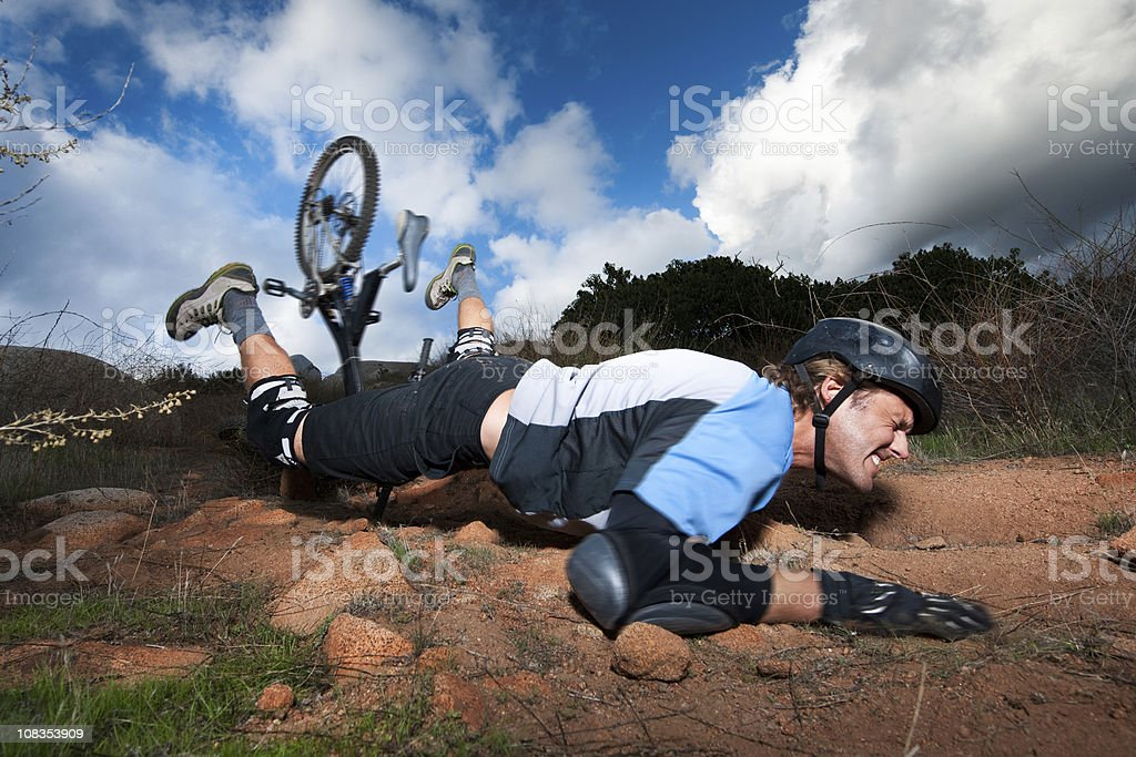 Extreme Mountain Biker stock photo