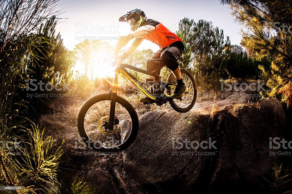 Extreme mountain biker riding over rough terrain stock photo
