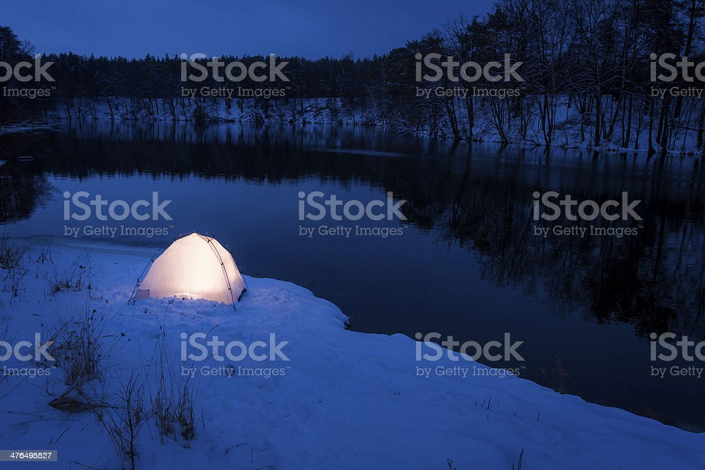 Extreme place to sleep in the winter royalty-free stock photo