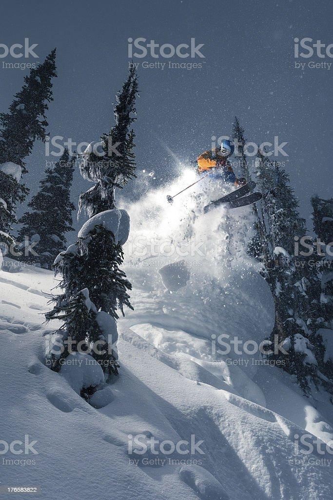 extreme powder skiing royalty-free stock photo