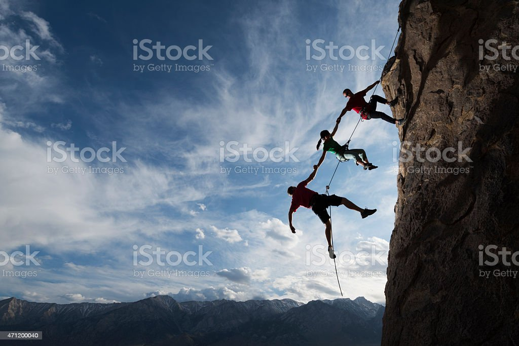 extreme rappelling stock photo