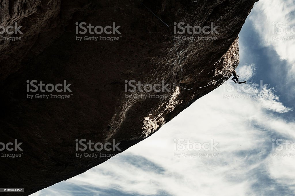 Extreme rock climbing stock photo