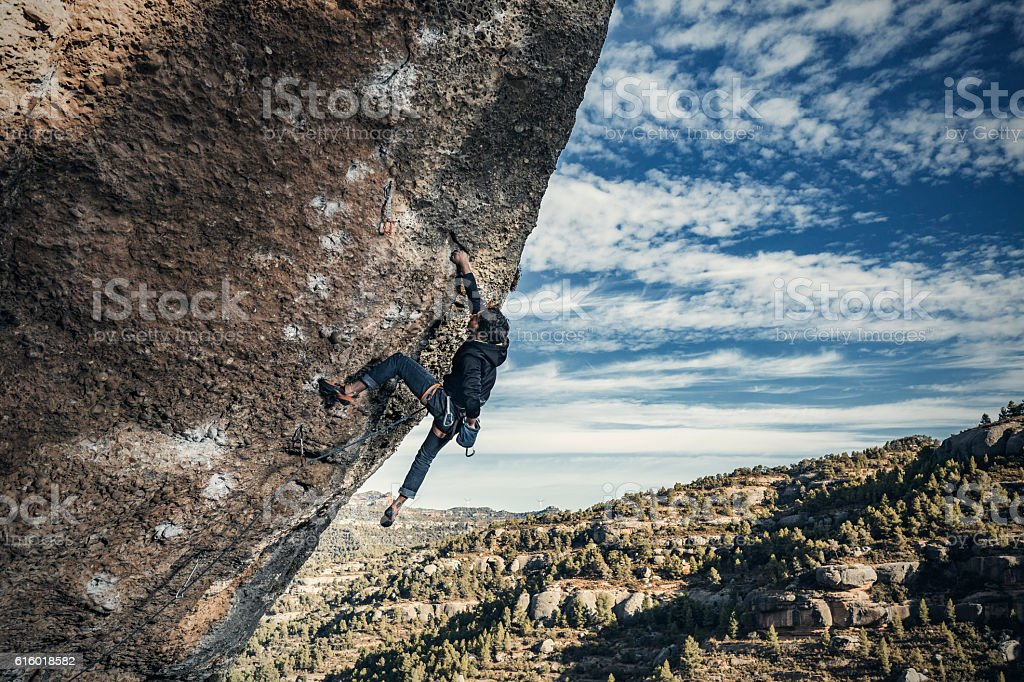 Extreme rock climbing stock photo