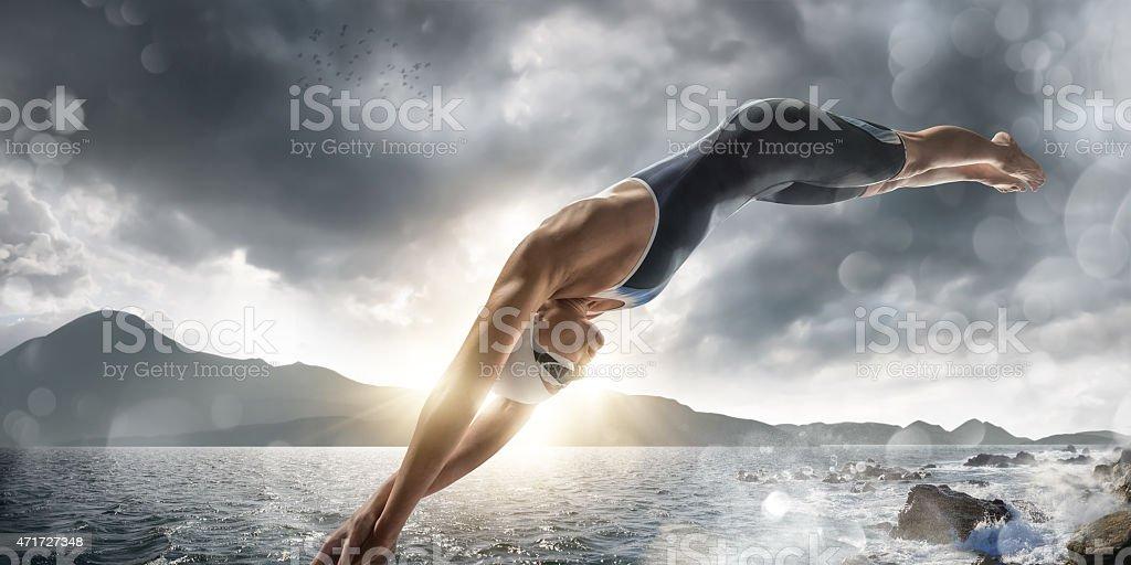 Extreme Sea Swim stock photo