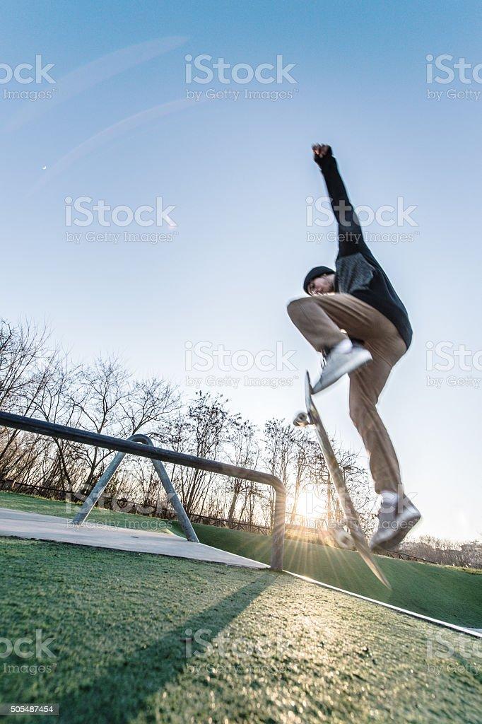 Extreme skateboarder stock photo