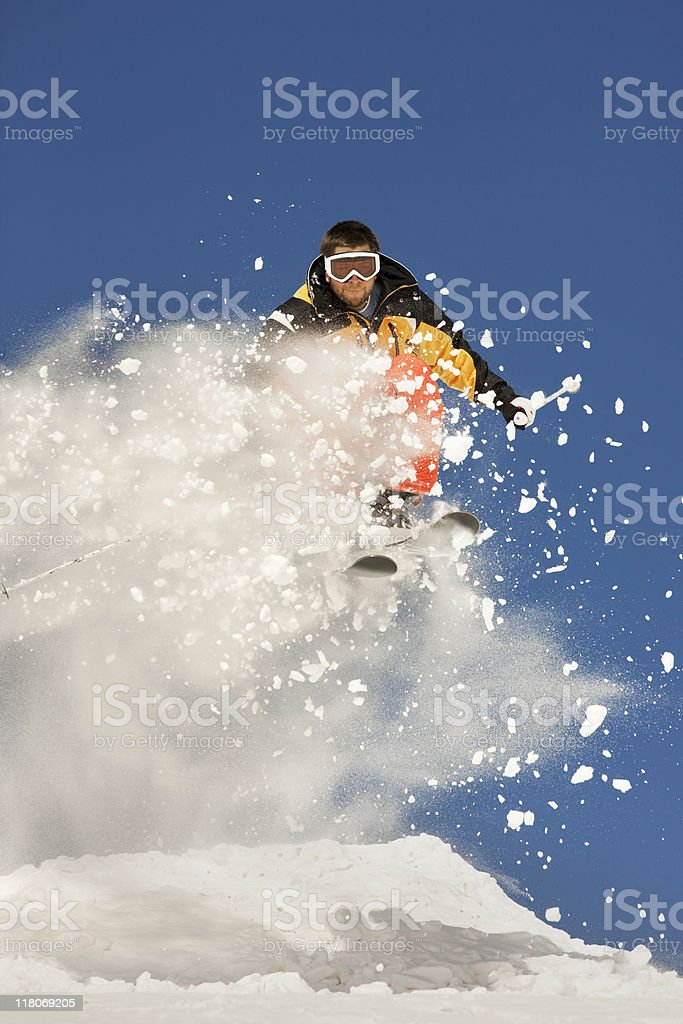 Extreme Ski Jump Against Blue Sky royalty-free stock photo