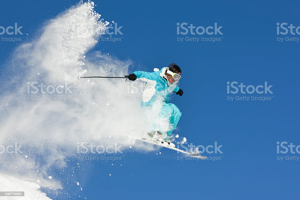Extreme Ski Jump Against Clear Blue Sky royalty-free stock photo