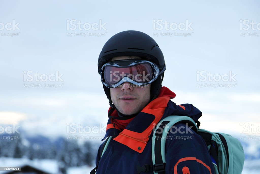 extreme skier looking into the camera XXL stock photo