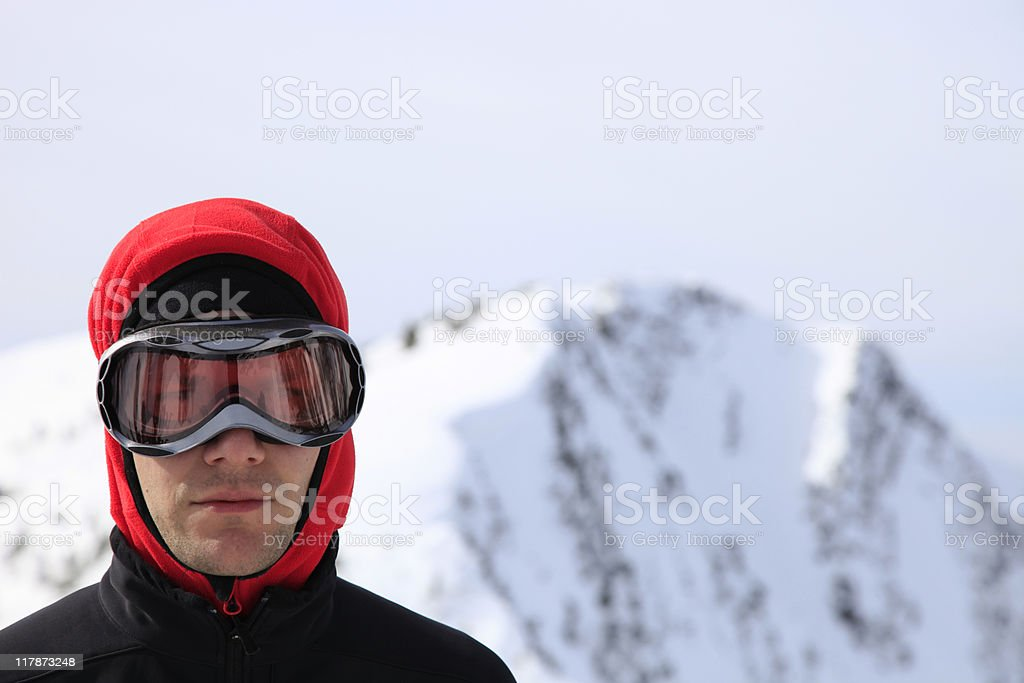 extreme skier summit stock photo