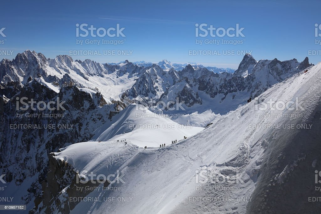 Extreme Skiing area Vallee Blanchet at Aiguille de Midi stock photo