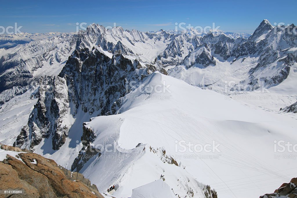 Extreme Skiing area Vallee Blanchet at Aiguille de Midi stock photo