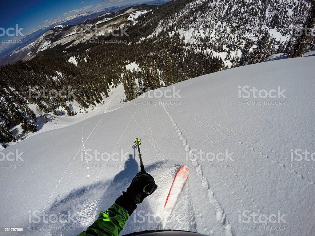 Extreme Skiing Avalanche Chute Colorado POV stock photo