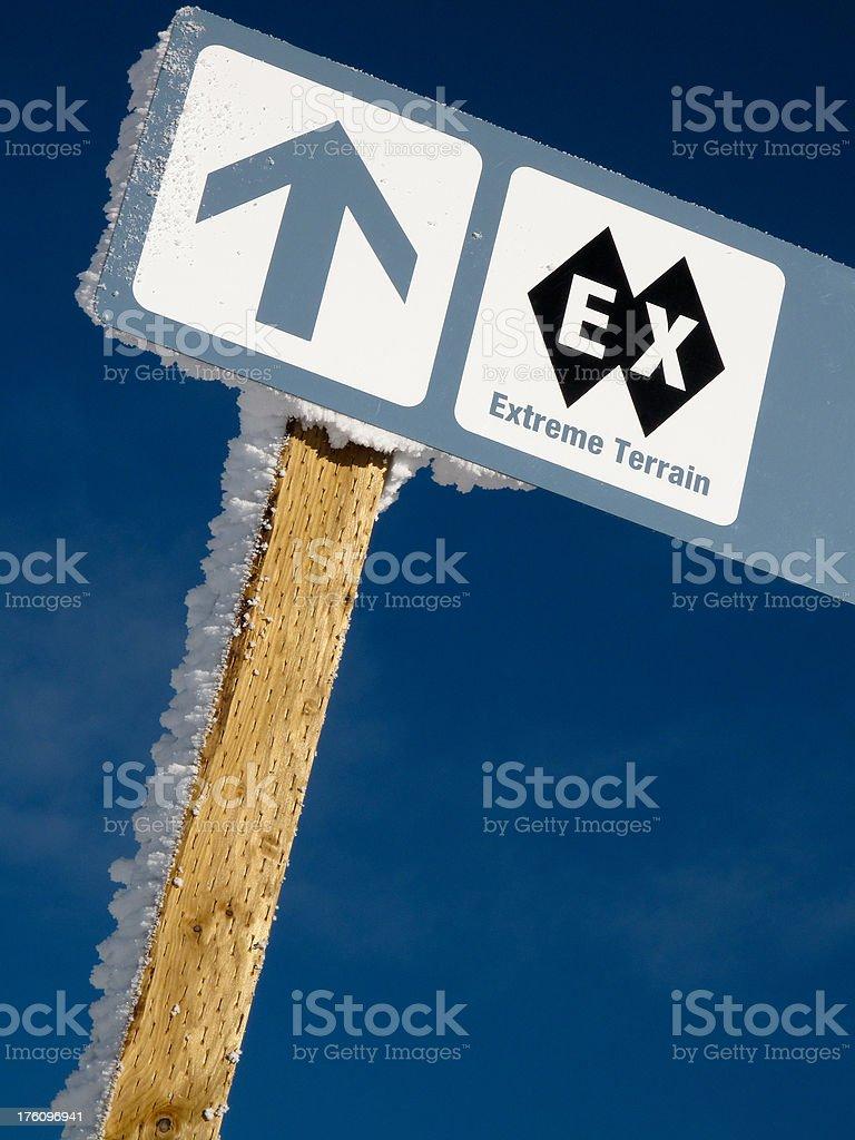 Extreme skiing sign stock photo