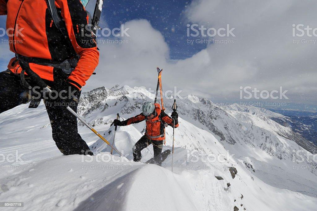 extreme skiing tour stock photo