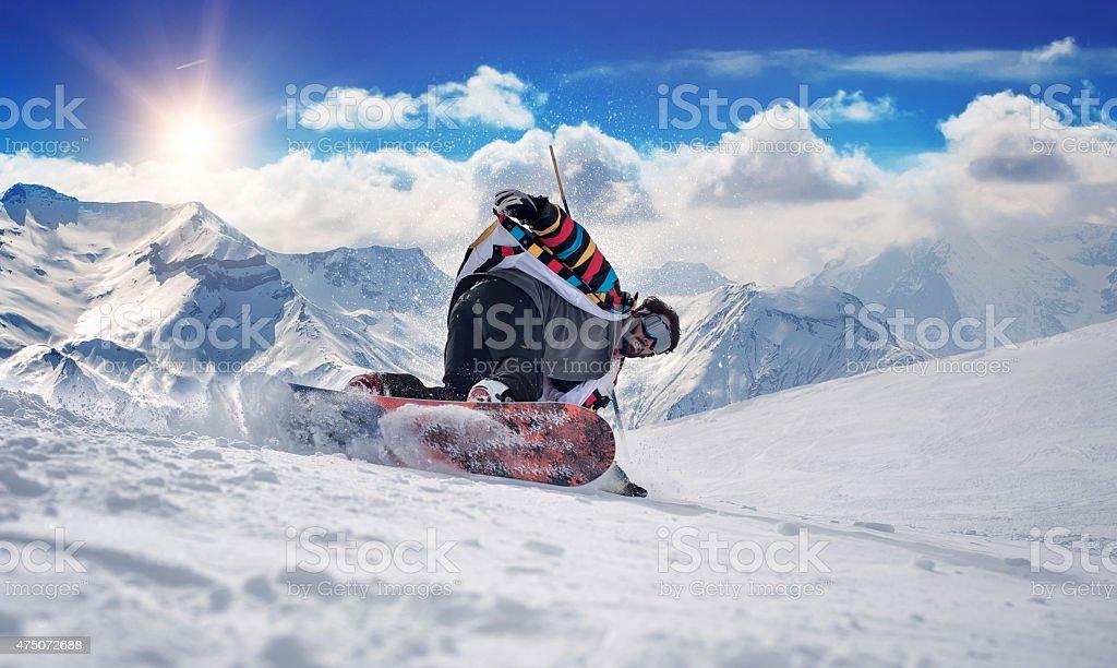 Extreme snowboarding man stock photo