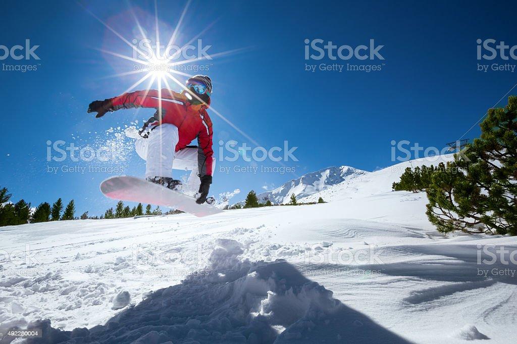 Extreme snowboarding stock photo