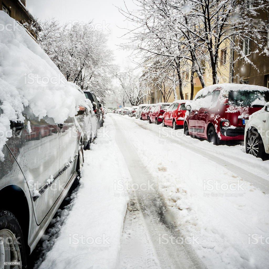 extreme snowfall in european city stock photo