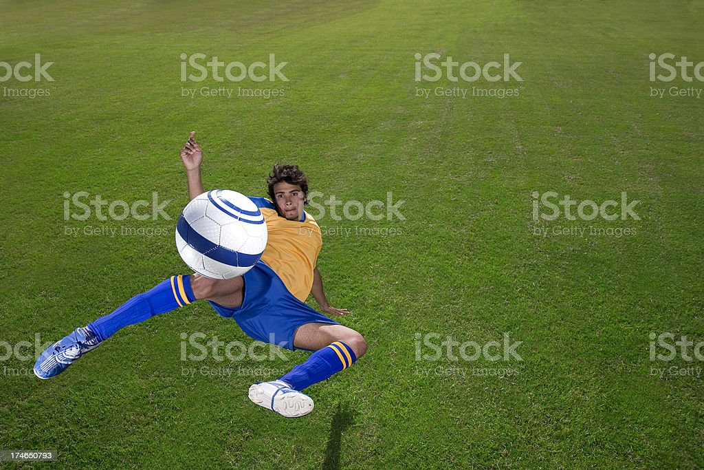 Extreme soccer player volley royalty-free stock photo