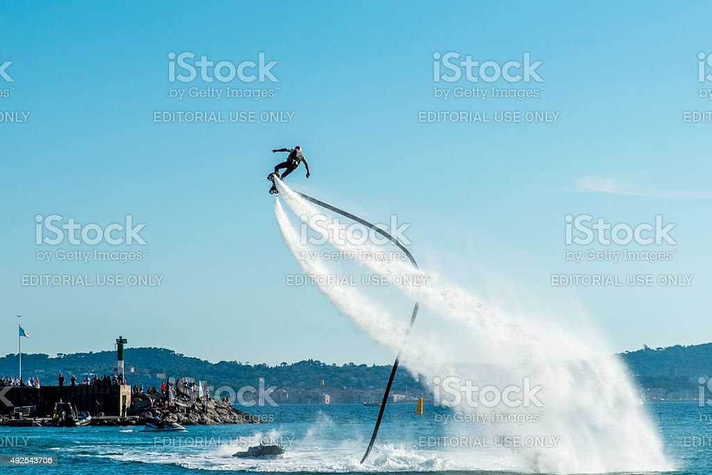Extreme sport Flyboard. stock photo