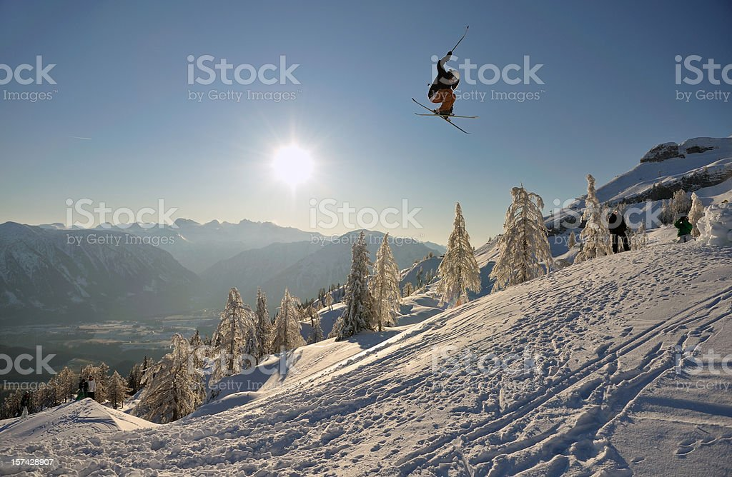 Extreme Sport Freestyle Ski Jump Panorama stock photo