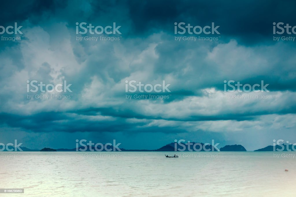 A tropical typhoon moves violently over the Andaman Sea, Krabi,...