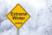 Extreme Winter Ahead Road Warning Sign