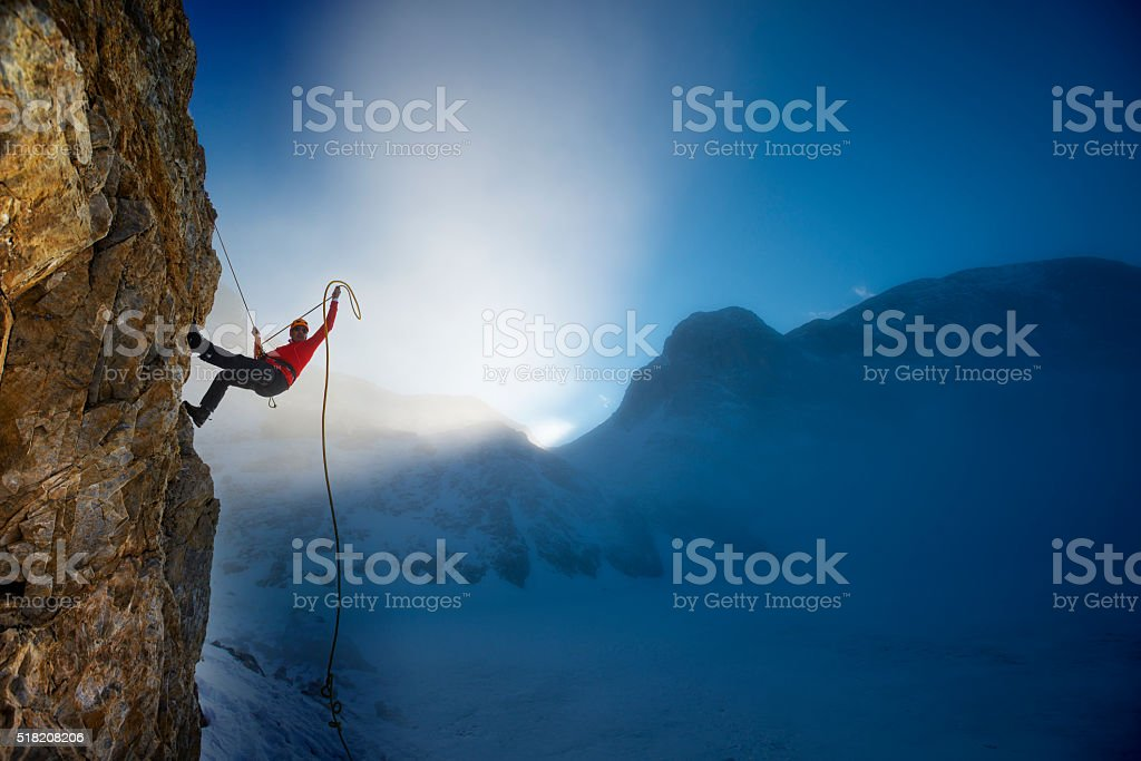 extreme winter climbing stock photo
