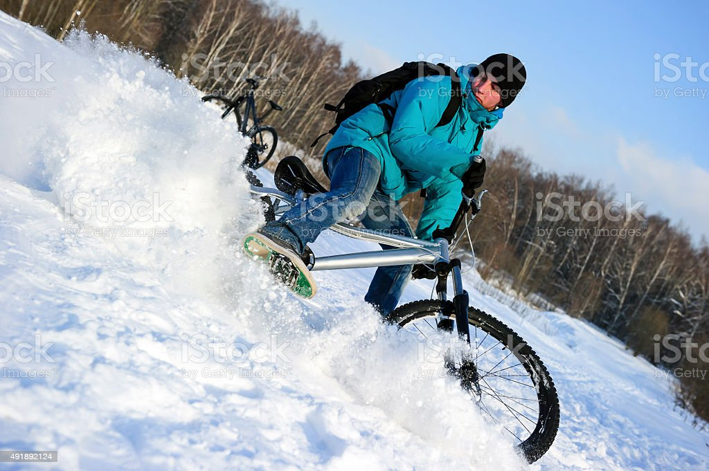 Extreme winter cycling stock photo