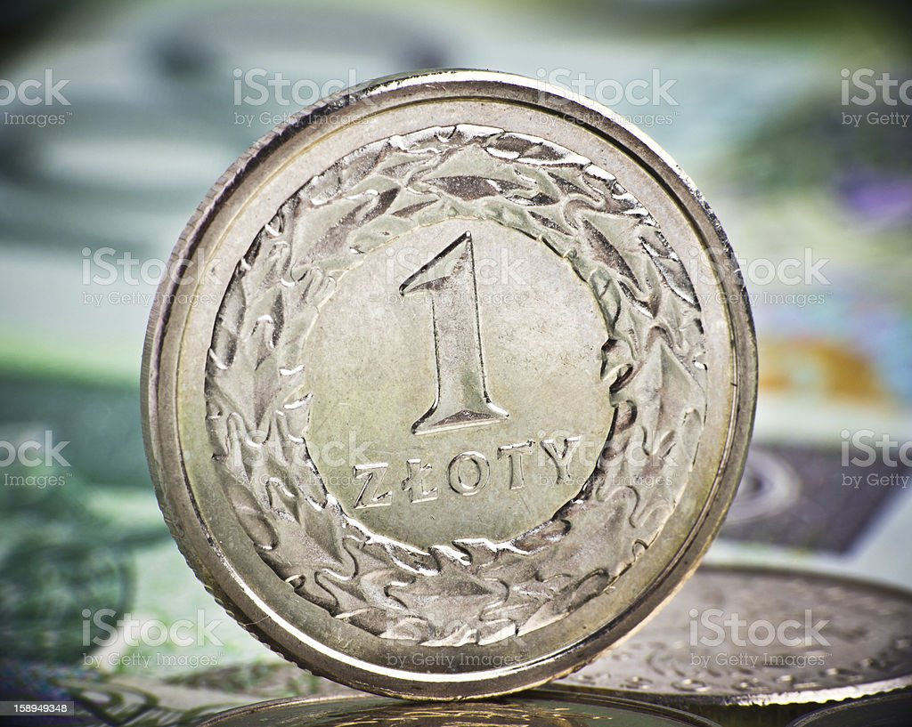 Extremely close up view of Poland currency royalty-free stock photo