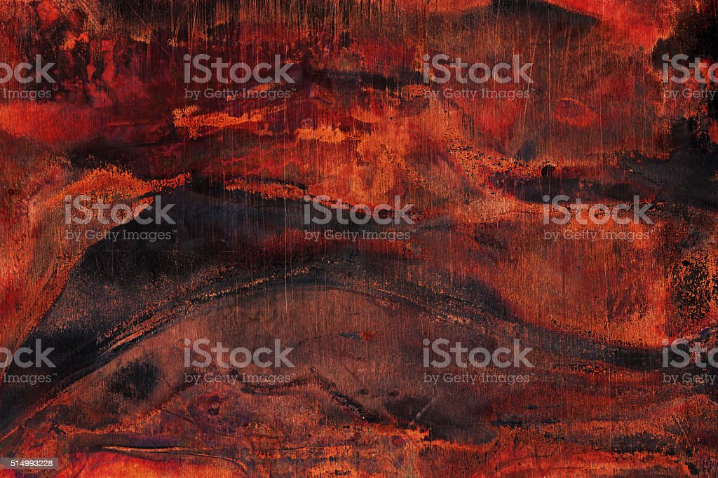 Extremely distressed dark brown metal surface stock photo