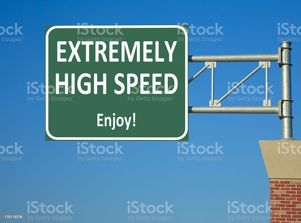 Extremely High Speed Highway Sign stock photo