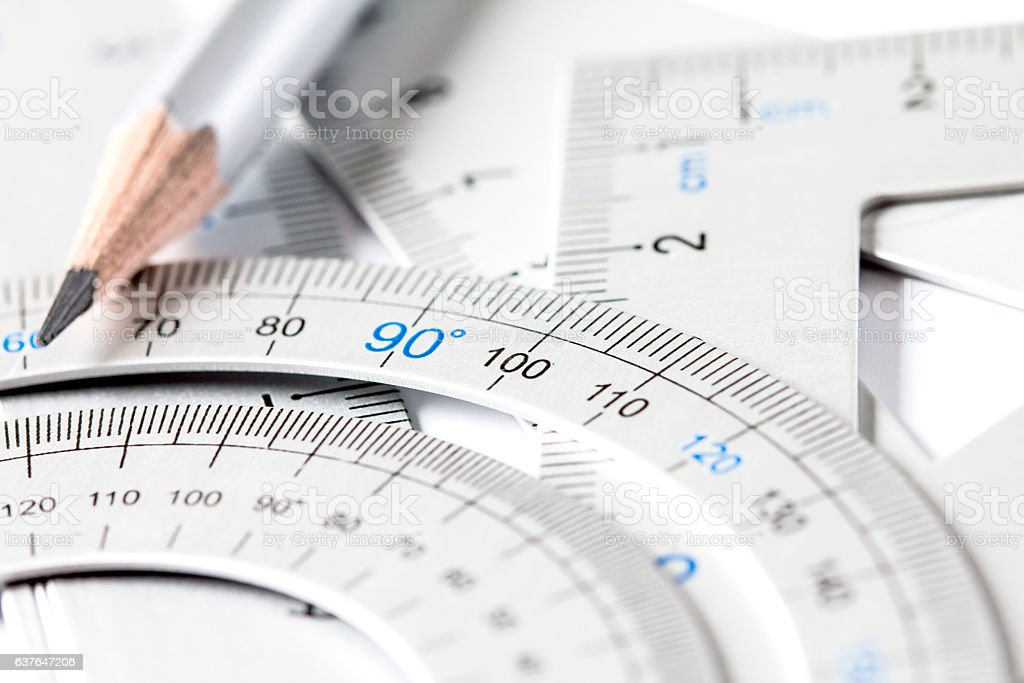 extremely selective focus a part of silver precision measurement stock photo