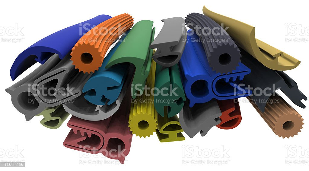 Extruded rubber profile (sealing) stock photo