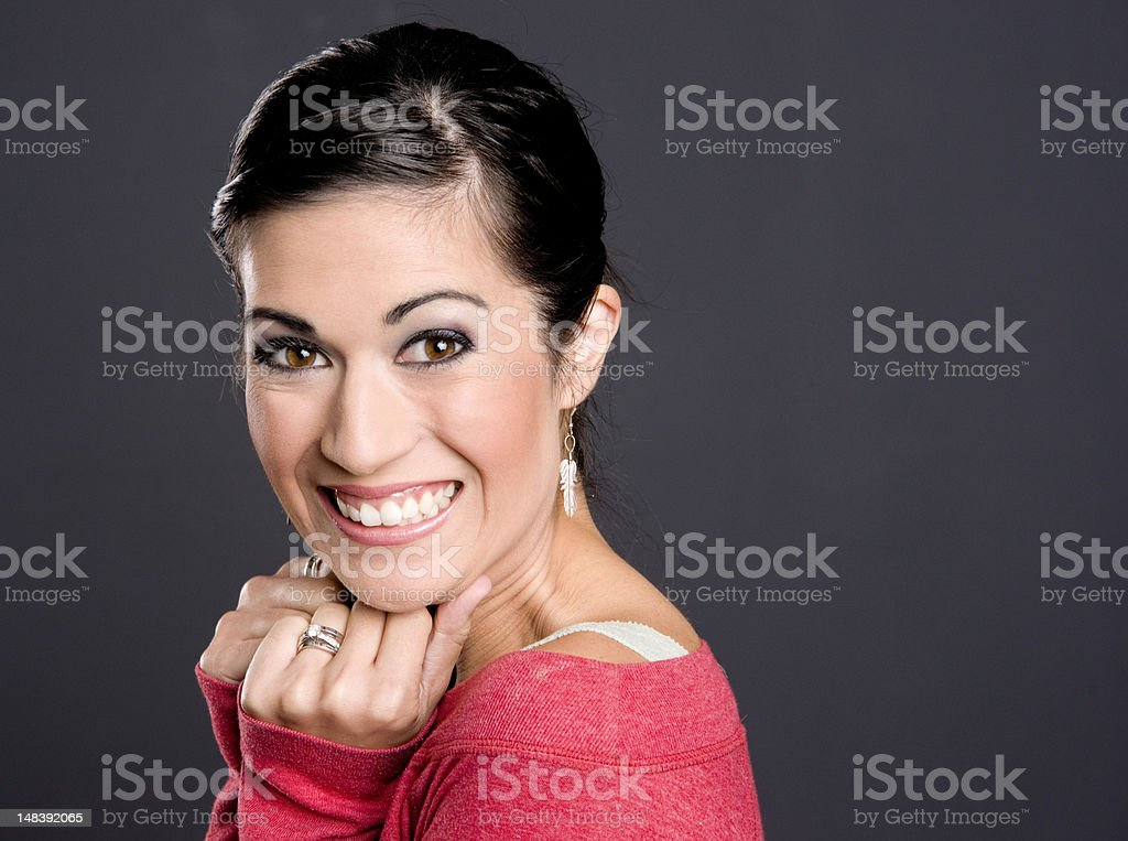 Exuberant Woman Expressing Positively in Head and Shoulders Composition stock photo