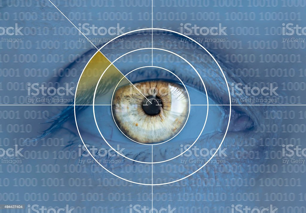 Eye and binary code stock photo