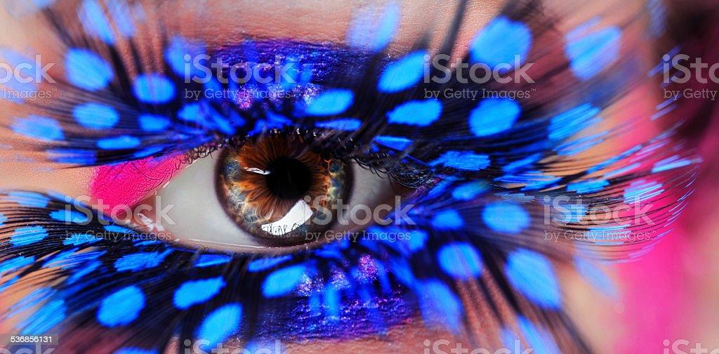 eye and feather eyelashes stock photo