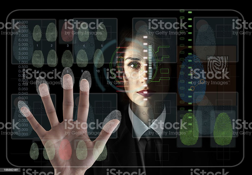 Eye and hand scanning for security stock photo