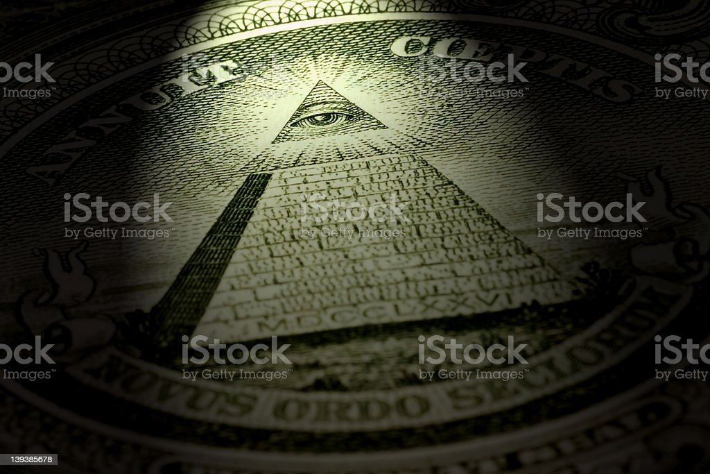 Eye and pyramid, one dollar bill stock photo