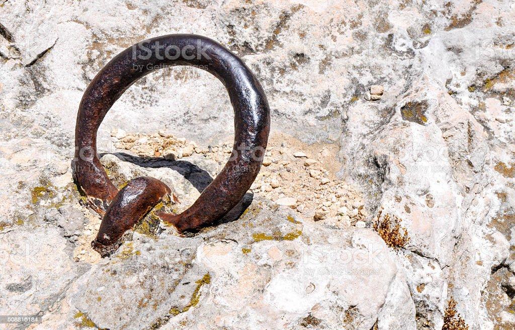 Eye Bolt in Limestone stock photo