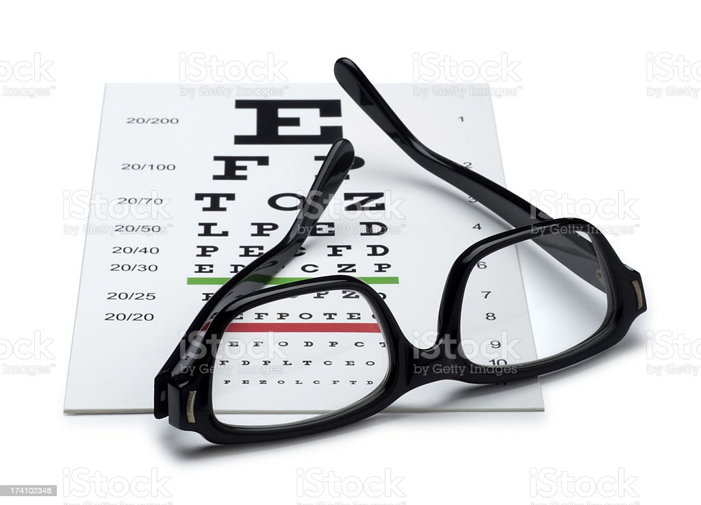Eye Chart and Reading Glasses royalty-free stock photo