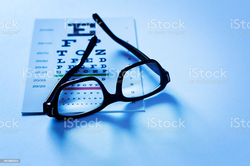 Eye Chart and Reading Glasses stock photo