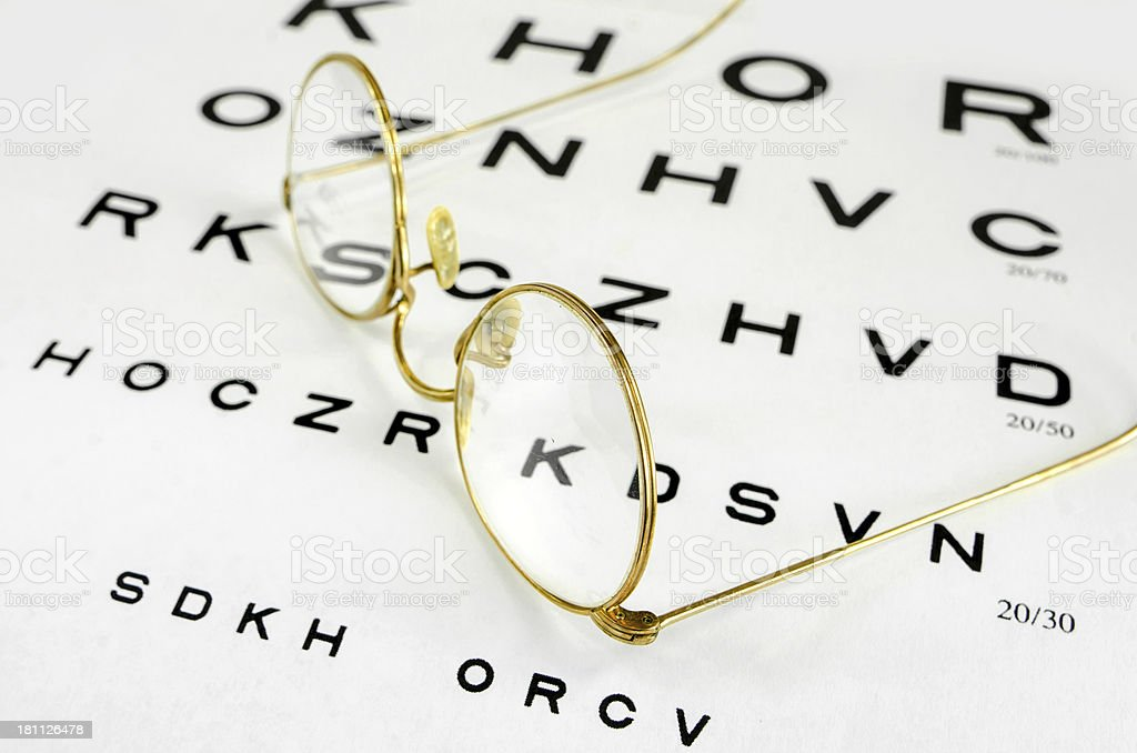Eye Chart with Antique Glasses royalty-free stock photo