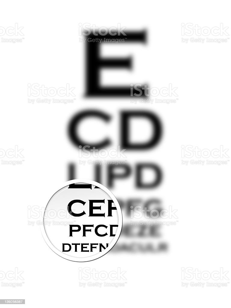 Eye chart with specific focal point near the bottom stock photo