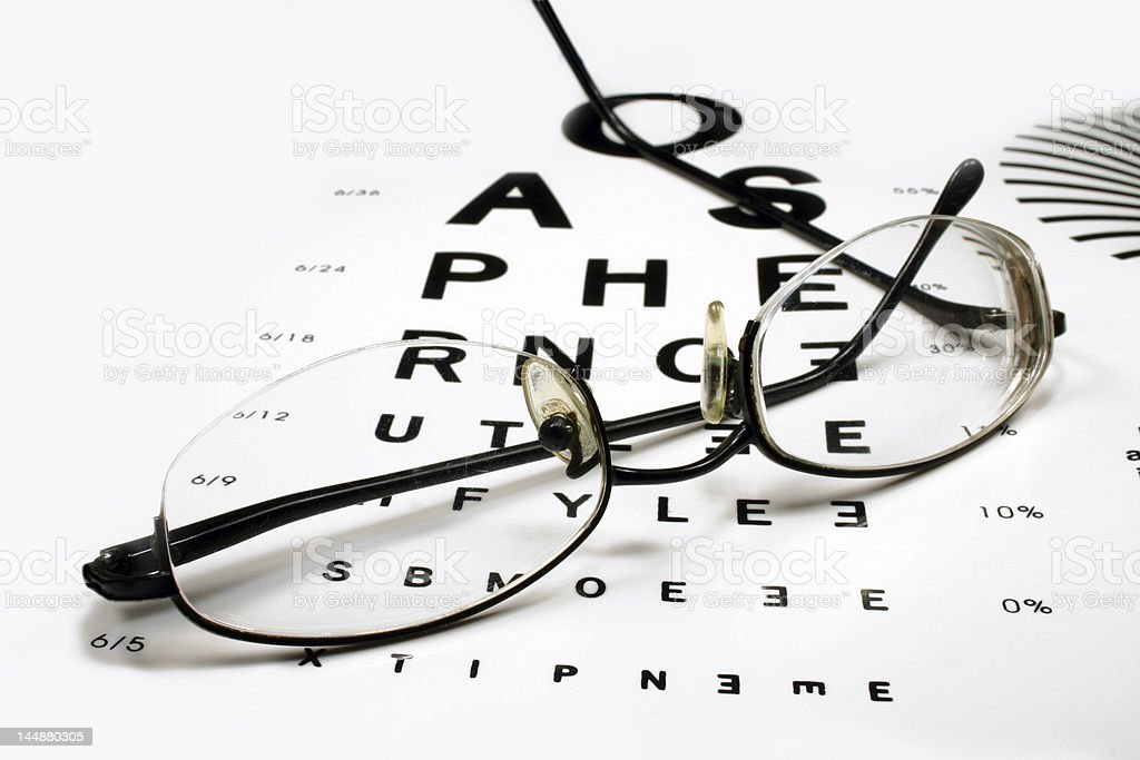 Eye chart with spectacles royalty-free stock photo