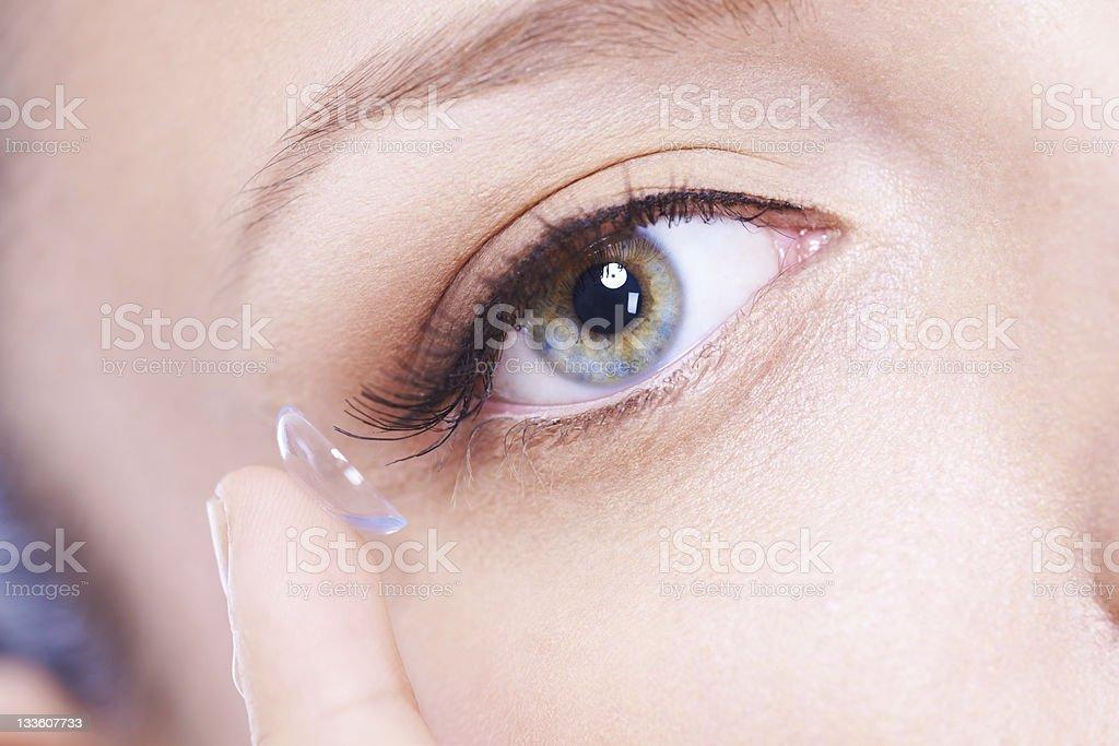 Eye contact lens close up stock photo