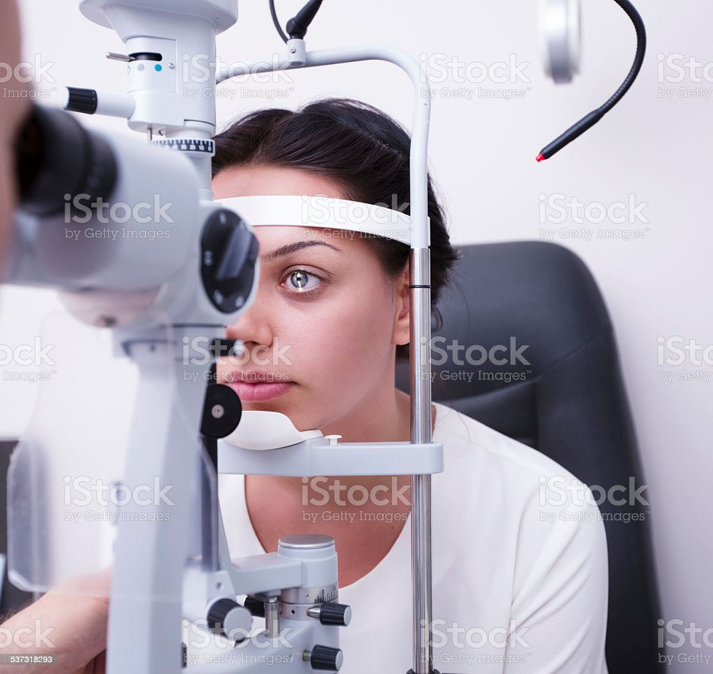 Eye controlling in hospital stock photo