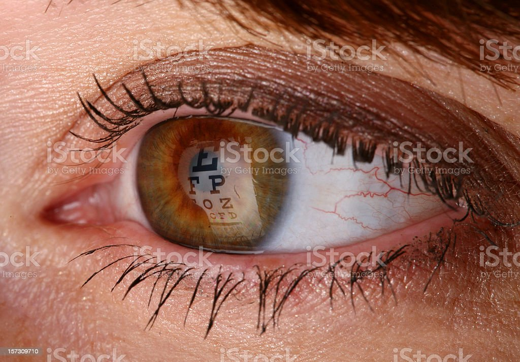 Eye Exam - Chart Reflection stock photo