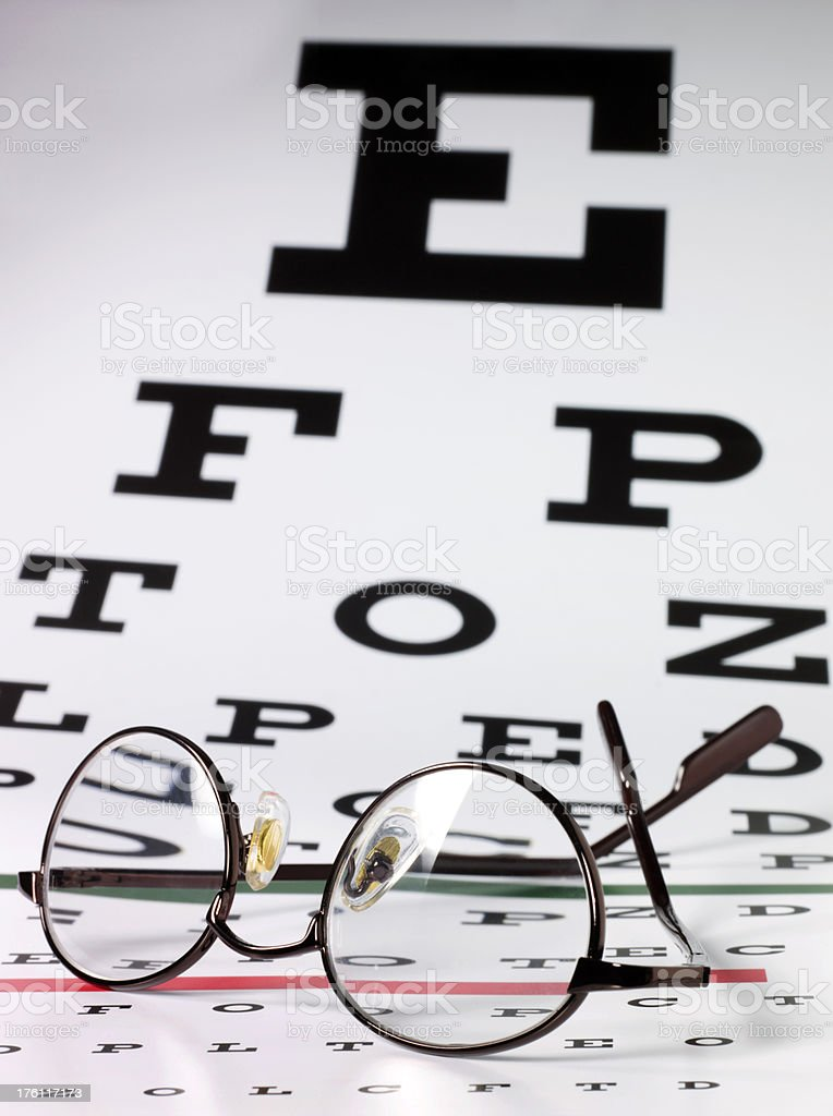 Eye exam chart with eyeglasses royalty-free stock photo